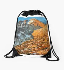 First Light at Longs Peak Drawstring Bag