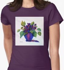 """""""NINNY'S PURPLE VIOLETS""""   (Vertical) Womens Fitted T-Shirt"""