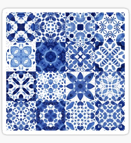 Indigo Watercolor Tiles Sticker
