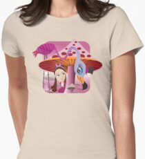 Alice in Mushroom land Womens Fitted T-Shirt