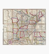0016 Railroad Maps A new map of the United States Upon which are delineated its vast works of internal communication routes across the continent c showing also Canada and Photographic Print