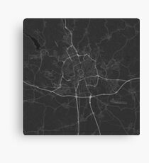 Brno, Czech Republic Map. (White on black) Canvas Print
