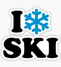 I love Ski snow Sticker