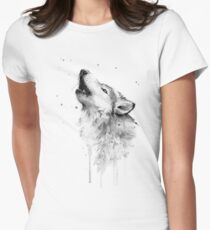 Wolf Howling Watercolor Women's Fitted T-Shirt