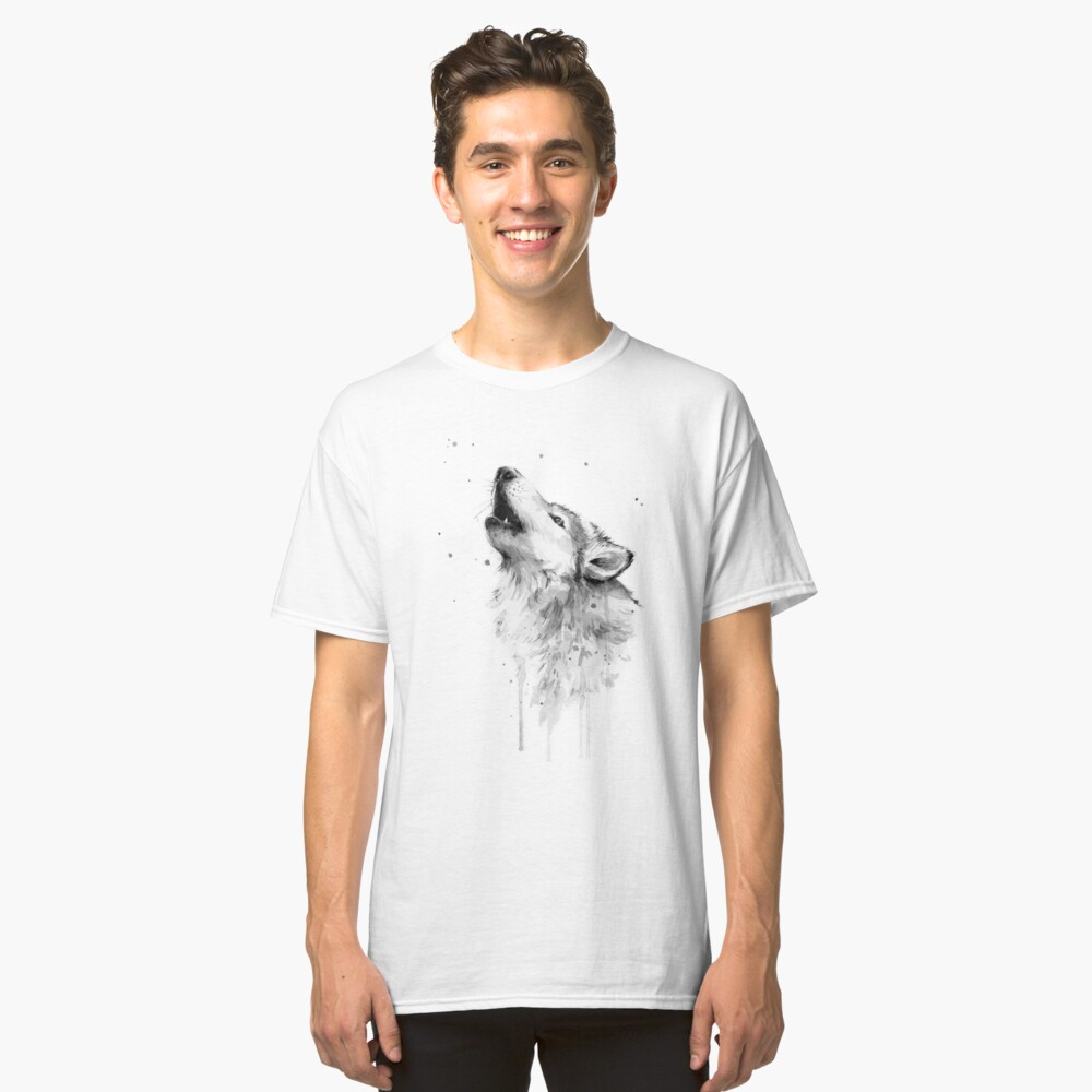 Wolf Howling Watercolor Classic T-Shirt