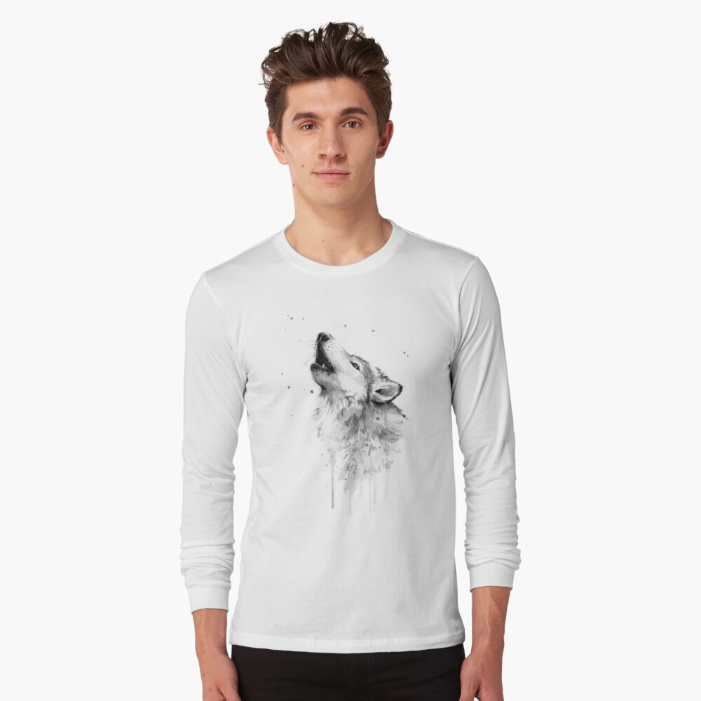 Wolf Howling Watercolor Long Sleeve T-Shirt