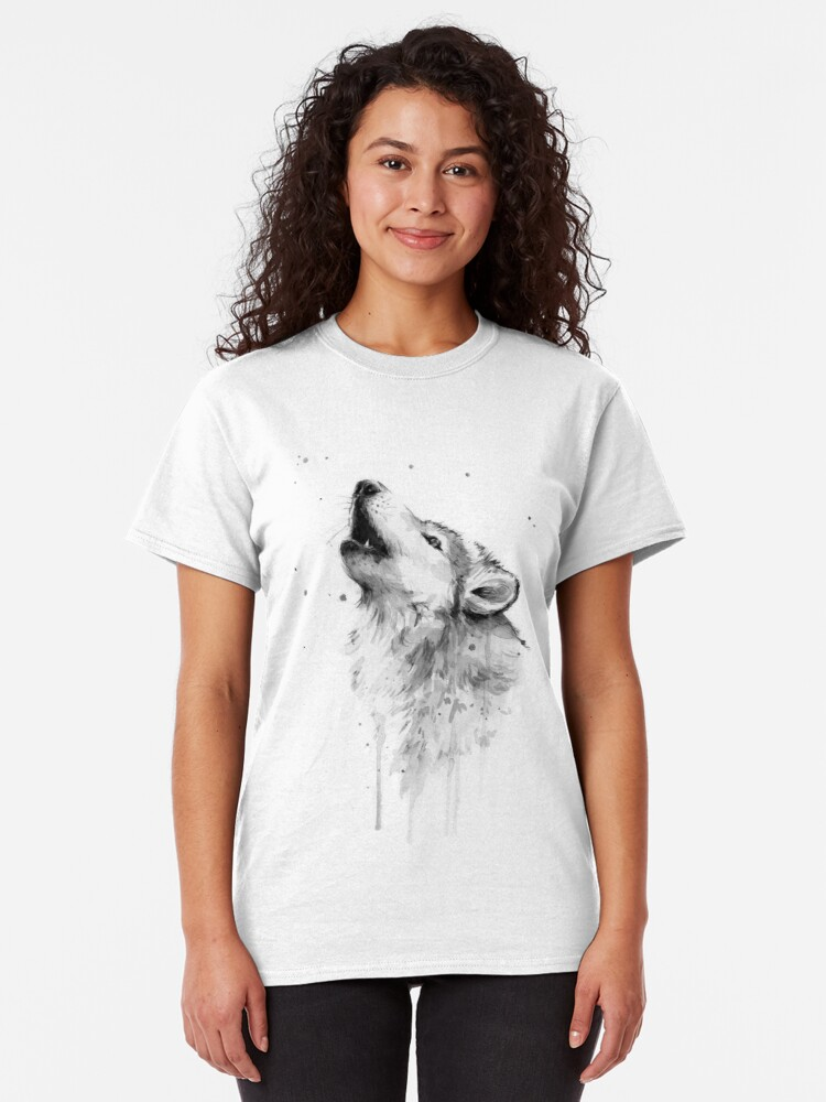 Alternate view of Wolf Howling Watercolor Classic T-Shirt