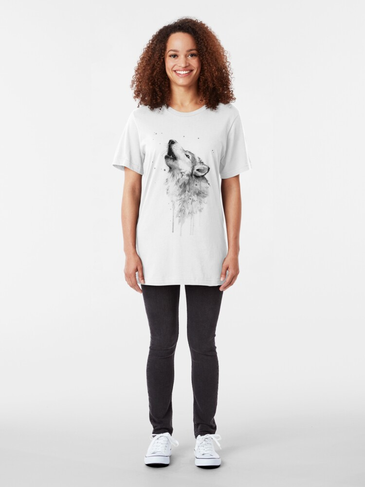 Alternate view of Wolf Howling Watercolor Slim Fit T-Shirt