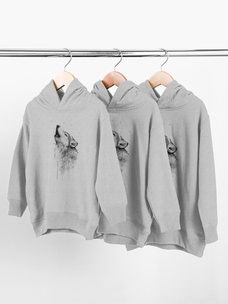 Alternate view of Wolf Howling Watercolor Toddler Pullover Hoodie