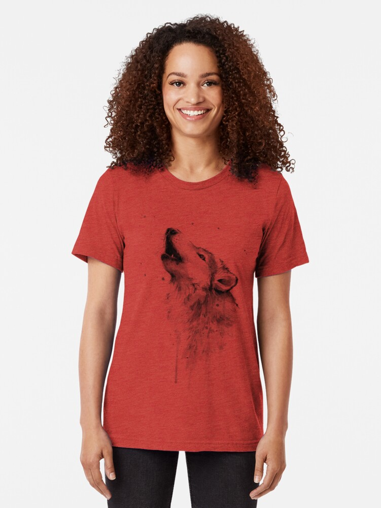 Alternate view of Wolf Howling Watercolor Tri-blend T-Shirt