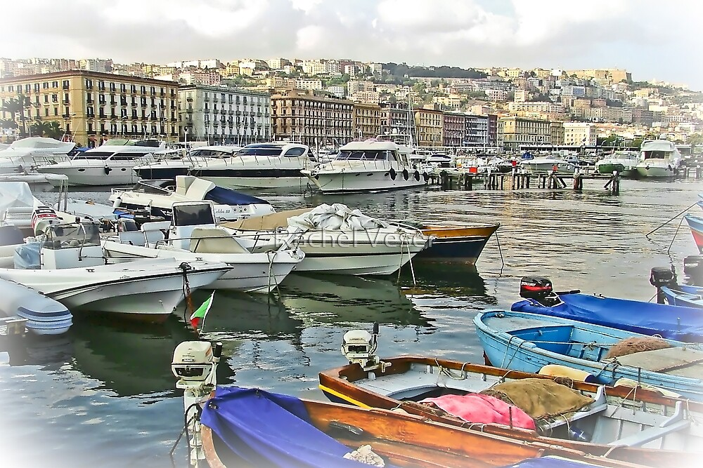 .. colored boats .. and white boats ..Mergellina / Naples / Italy  by Rachel Veser