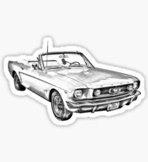 1965 Red Ford Mustang Convertible Drawing Sticker