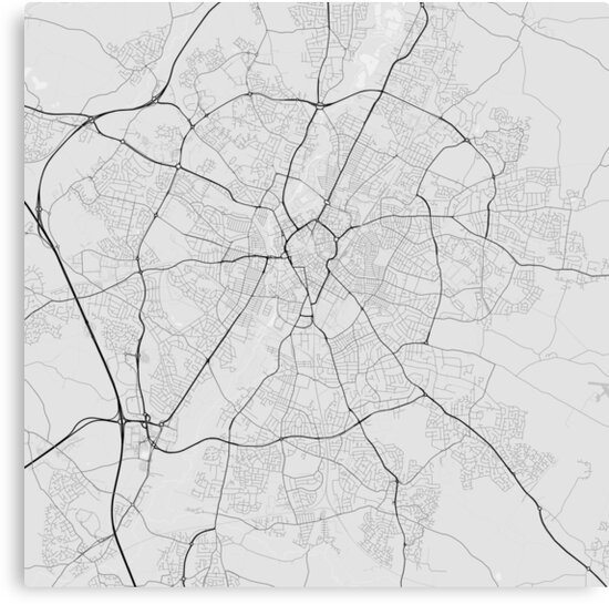 Leicester England Map Black On White Canvas Prints By Graphical