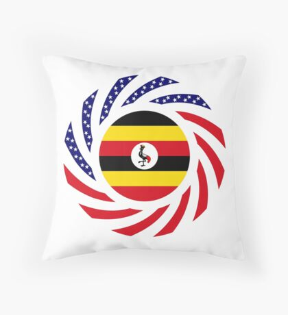 Ugandan American Multinational Patriot Flag Series Throw Pillow