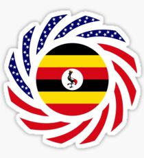 Ugandan American Multinational Patriot Flag Series Sticker