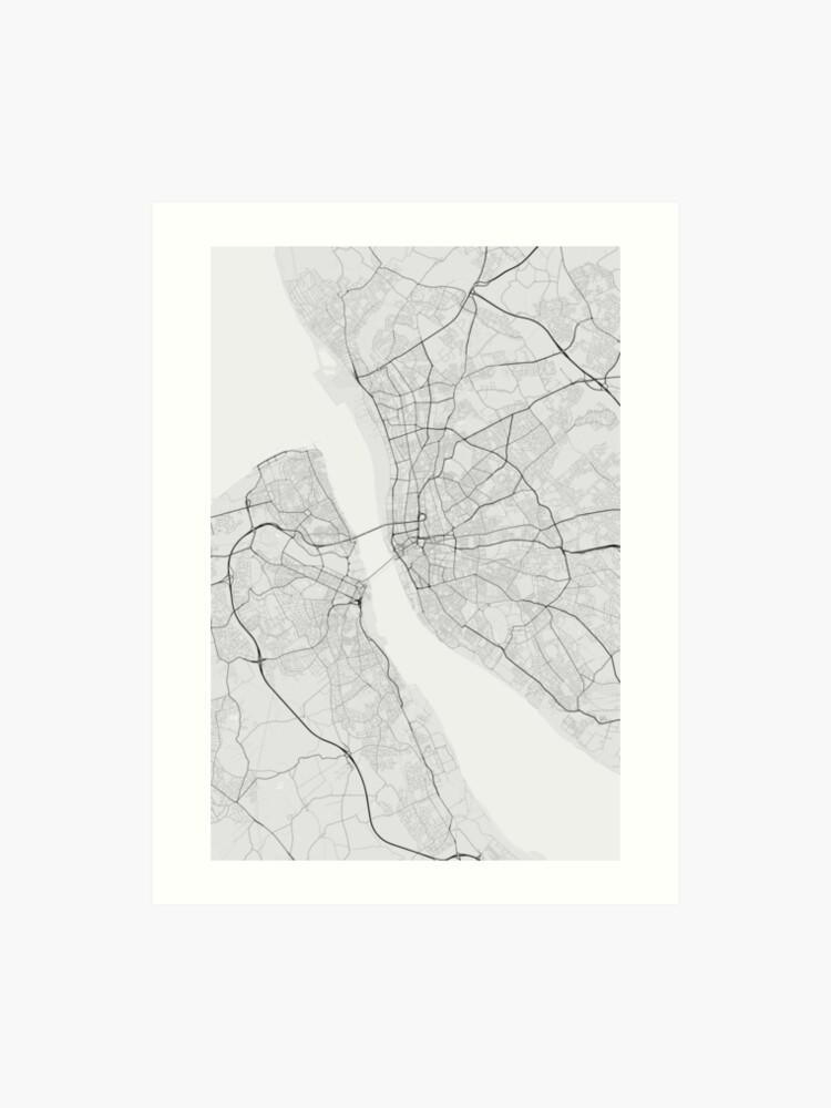 Liverpool, England Map. (Black on white) | Art Print