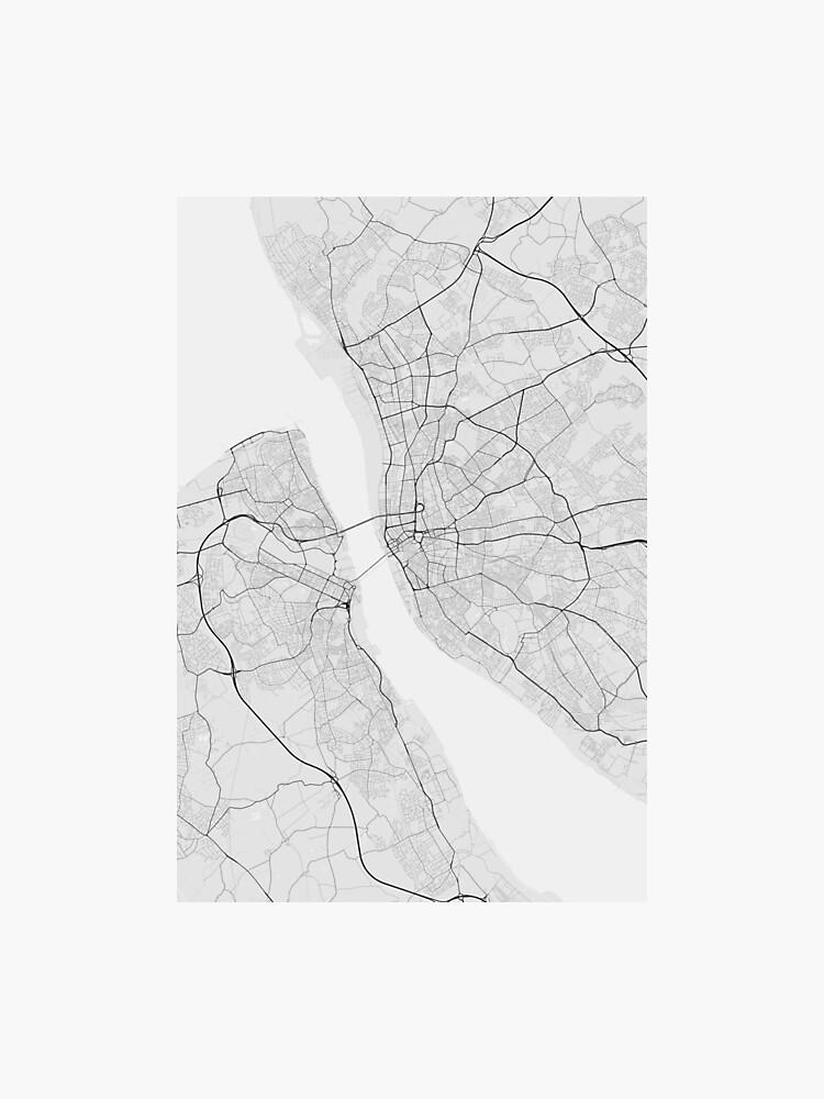 Liverpool, England Map. (Black on white) | Photographic Print