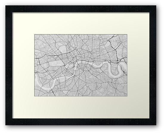 London, England Map. (Black on white)\