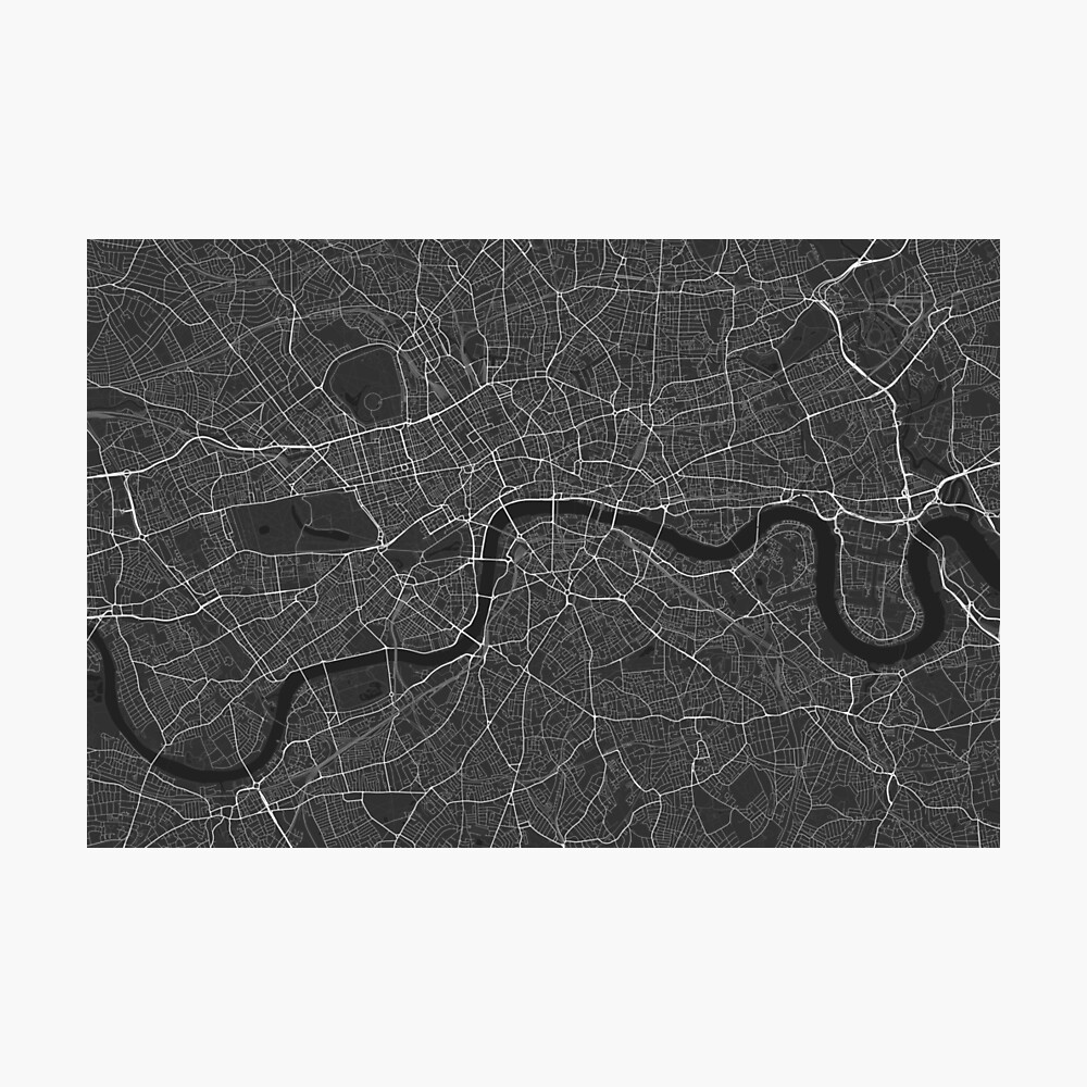 London, England Map. (White on black) Photographic Print