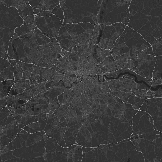 London, England Map. (White on black) von Graphical-Maps