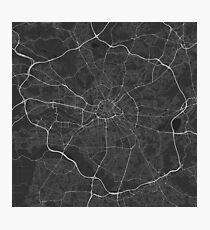 Manchester, England Map. (White on black) Photographic Print
