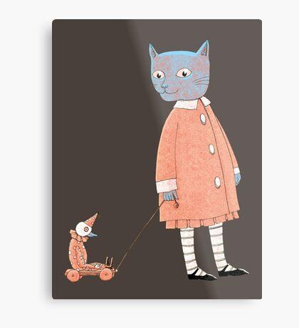 Cat Child Takes a Walk Metal Print