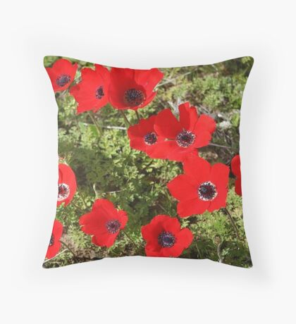 Red Wild Anemone Flowers  Throw Pillow