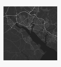Southampton, England Map. (White on black) Photographic Print
