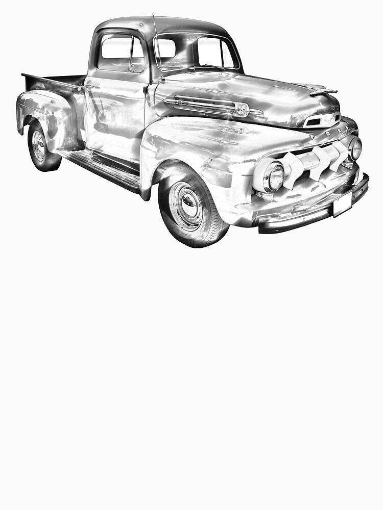 1951 Ford F 1 Pickup Truck Illustration T Shirt By Kwjphotoart