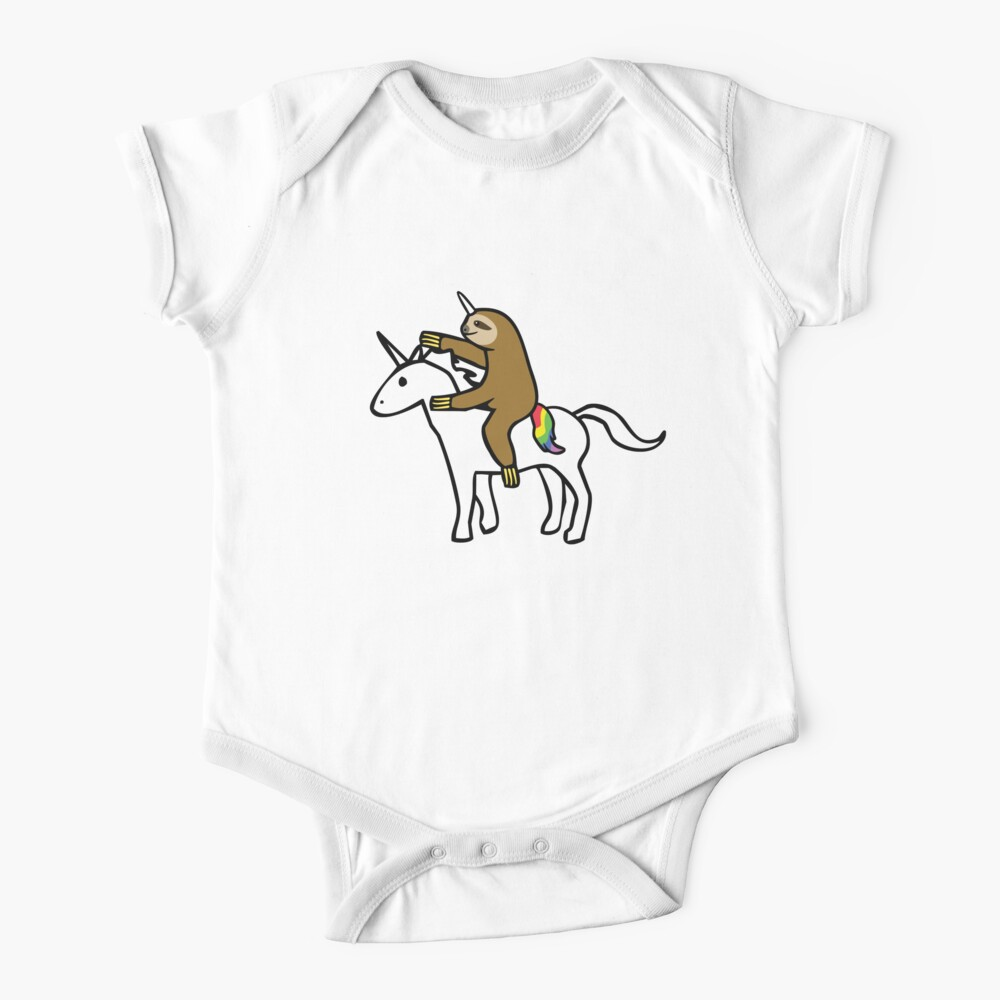 Slothicorn Riding Unicorn Baby One-Piece