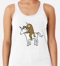 Camiseta con espalda nadadora Slothicorn Riding Unicorn