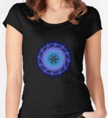 Merkaba Spiral Mandala Blue  ( Fractal Geometry ) Women's Fitted Scoop T-Shirt