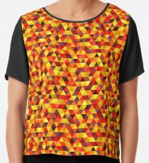 Bright Triangle Pattern In Autumn Colors Chiffon Top