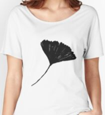 Ginkgo biloba, Lino cut nature inspired leaf pattern Women's Relaxed Fit T-Shirt