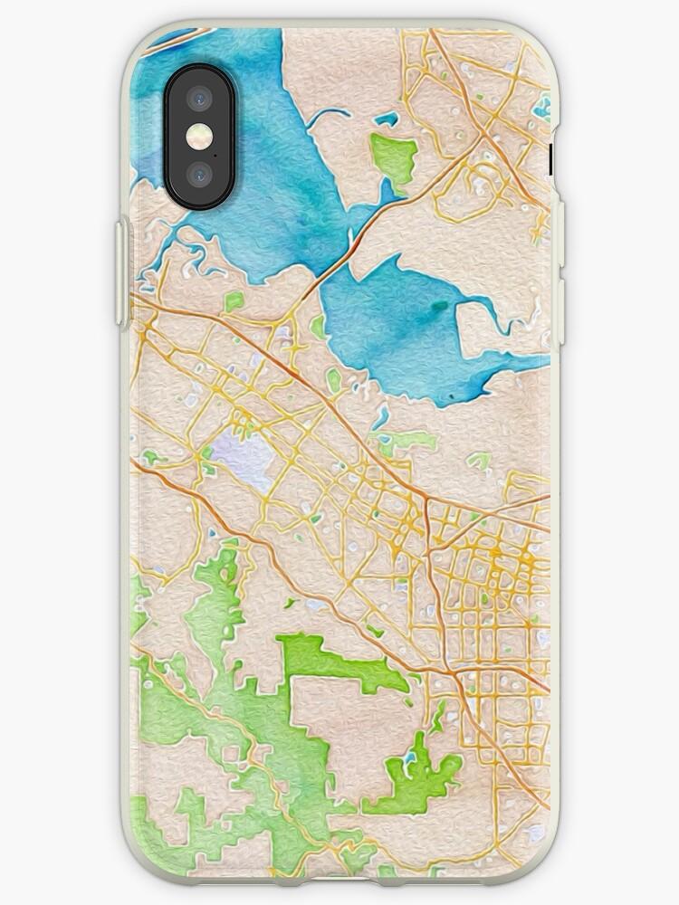 Silicon Valley Karte.Aquarell Karte Von Silicon Valley Iphone Hulle Cover Von Mapcandy