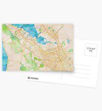 Postales Mapa de acuarela de Silicon Valley