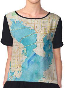 Watercolor map of Tampa Bay Chiffon Top