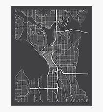 Seattle Map, USA - Gray Photographic Print