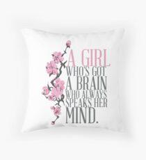 a girl who's got a brain Throw Pillow