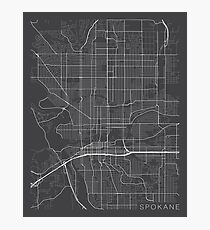Spokane Map, USA - Gray Photographic Print