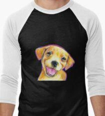 Golden Retriever Puppy Smiling Happy Drawing Men's Baseball ¾ T-Shirt