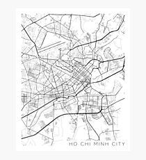 Ho Chi Minh City Map, Vietnam - Black and White Photographic Print