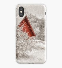 Red Shed In The Snow iPhone Case/Skin
