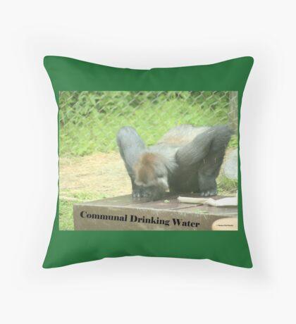 Communal Drinking Water Throw Pillow