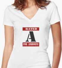 Rated A for Airborne Women's Fitted V-Neck T-Shirt