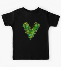 V like vegan, vegetarian, plant, save planet earth, green lifestyle  Kids Clothes