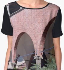 Building with red brick facade and arches in Siena. Women's Chiffon Top