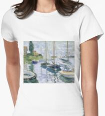 Claude Monet - Boats At Rest At Petit Gennevilliers Women's Fitted T-Shirt