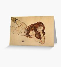 Egon Schiele - Female Nude Lying On Her Stomach 1917 Greeting Card