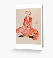 Egon Schiele - Seated Girl Facing Front 1911 Greeting Card